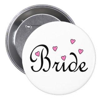 Bride Pink Hearts 3 Inch Round Button