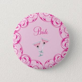 Bride Pink Swirl Martini Button