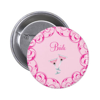 Bride Pink Swirl Martini Button