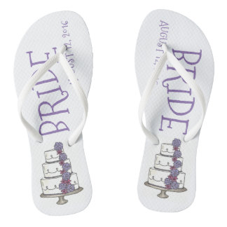 BRIDE Purple Wedding Cake Customized Flip Flops