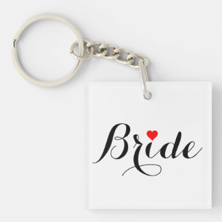 Bride Red Heart Keychain Square