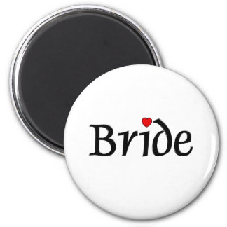 Bride (Red Hearts) 2 Inch Round Magnet