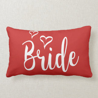 Bride Red & White Love Hearts Wedding Typography Lumbar Pillow
