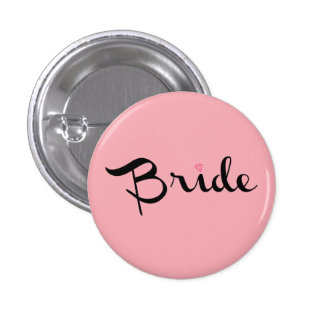 Bride Retro Script Pink 1 Inch Round Button