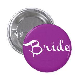 Bride Retro Script White Pinback Buttons