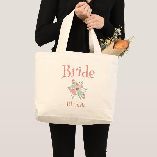 Bride Rhonda Floral Personalize Large Tote Bag