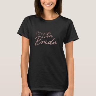 Bride - Rose Gold & black faux foil t-shirt