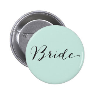 Bride Script Calligraphy Chic Wedding Bridal Party 2 Inch Round Button