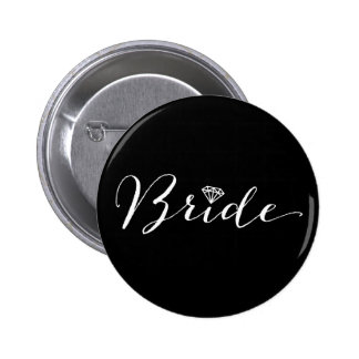 Bride Script Diamond Chic Wedding Bridal Party 2 Inch Round Button
