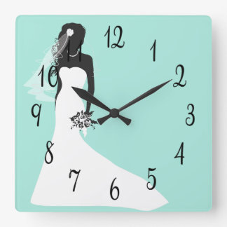 Bride Silhouette Against Turquoise Wallclock