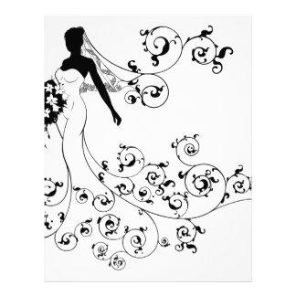 Bride Silhouette Bouquet Wedding Concept Letterhead