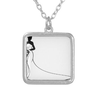 Bride Silhouette Holding Bouquet Silver Plated Necklace