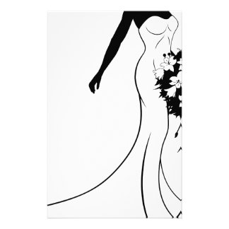 Bride Silhouette Holding Bouquet Stationery Paper