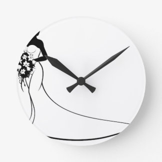 Bride Silhouette Holding Bouquet Wall Clock