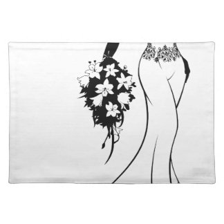 Bride Silhouette in Wedding Dress Placemat