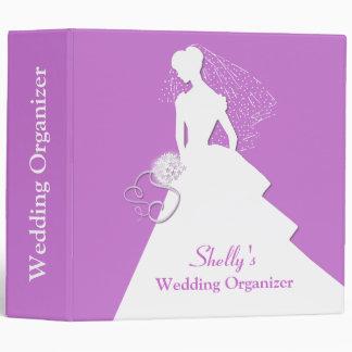 Bride Silhouette Mauve Wedding Organizer Binder