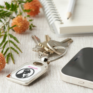 Bride Silhouette with Flowers Silver-Colored Rectangle Keychain