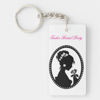 Bride Silhouette with Flowers Single-Sided Rectangular Acrylic Keychain