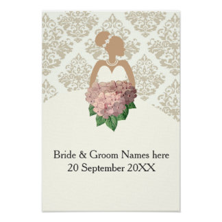 Bride silhouette with hydrangea bouquet poster