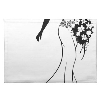 Bride Silhouette with Wedding Flowers Placemat