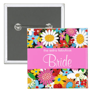 BRIDE Spring Flowers Garden Wedding Name Tag 2 Inch Square Button