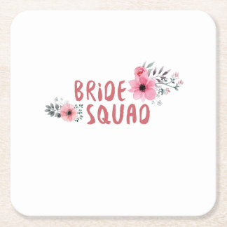 Bride Squad Bachelorette Party Funny Gift wedding Square Paper Coaster