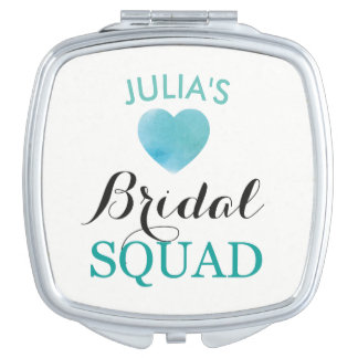 Bride Squad Heart Teal Bridesmaids Shower Wedding Mirrors For Makeup