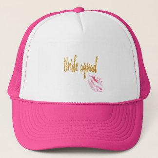 bride-squad-pink-kiss. trucker hat