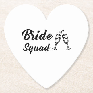 Bride Squad with Champagne Glass Paper Coaster