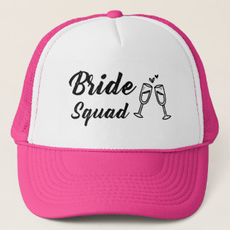 Bride Squad with Champagne Glass Trucker Hat