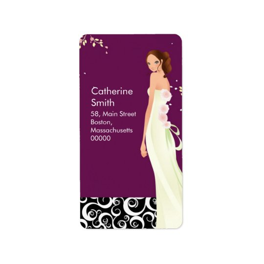 Bride Swirl Address Labels in Plum