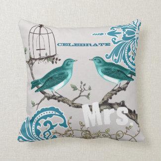 Bride Teal Damask Love Bird  Birdcage Throw Pillow
