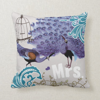 Bride Teal Damask Purple Vintage Peacock Birdcage Throw Pillow