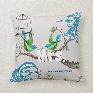 Bride Teal & Green Damask Love Bird  Birdcage Throw Pillow