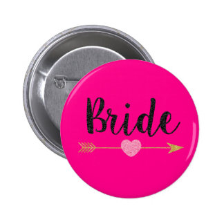 Bride|Team Bride|Hot Pink 2 Inch Round Button