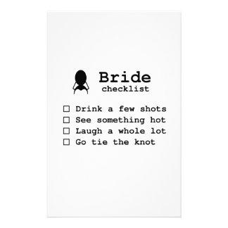 Bride to be checklist stationery design