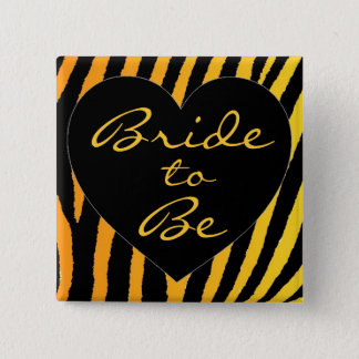 Bride to be orange yellow zebra bachelorette pin