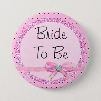 Bride to Be Pink and Black Dots Button