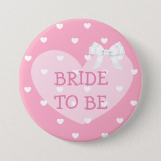 Bride to Be Pink Hearts White Bow Button