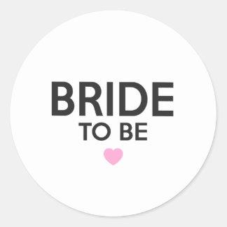Bride To Be Print Classic Round Sticker
