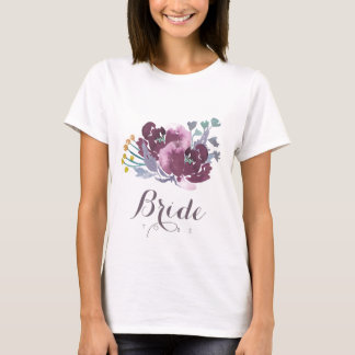 Bride to be PURPLE AQUA WATERCOLOR FLORAL MONOGRAM T-Shirt