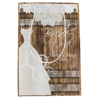 Bride to Be - Rustic Wood and Lace Design Medium Gift Bag