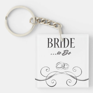 Bride to be Swirls Design Acrylic Key Chains