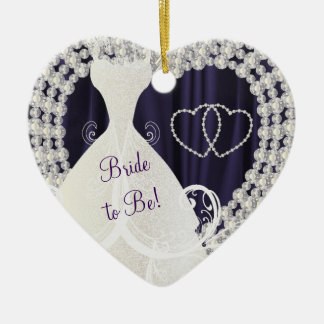 Bride to Be White Diamonds Plum Purple Wedding Ceramic Heart Ornament