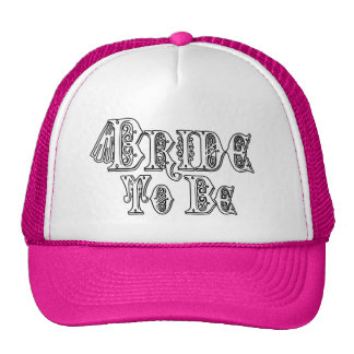Bride To Be With Veil, Fancy White - Black Outline Trucker Hat