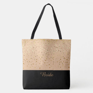 Bride Tote Bag Peach & Petite Golden Stars