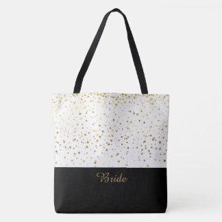 Bride Tote Bag White & Petite Golden Stars