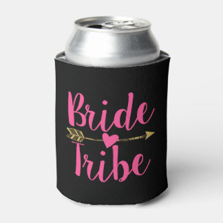 Bride Tribe | Black & Hot Pink Can Cooler