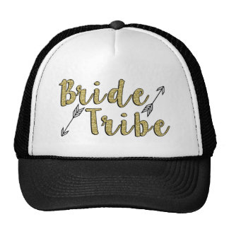 Bride Tribe Bridesmaid Gold Glitter arrow Trucker Hat