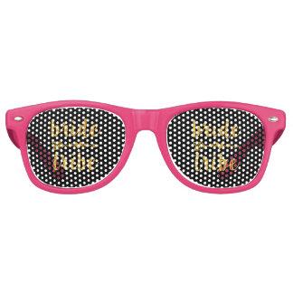 Bride Tribe Bridesmaid Gold Glitter Retro Sunglasses